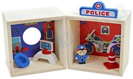 Drewniany posterunek policji klocki figurki