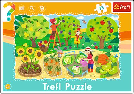 Trefl (31218): Puzzle ramkowe 15 el. Ogród